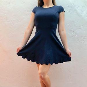 Navy Blue Scalloped Hem Dress